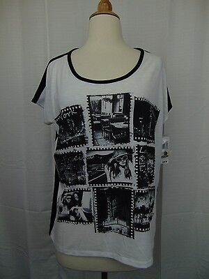 Style   Co Petite Short Sleeve Travel Photo Printed Button Back Top Pm  3484
