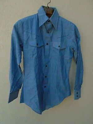 1970s Men's Shirt Styles – Vintage 70s Shirts for Guys Vintage 1970s SEARS JEANS JOINT Men's Chambray Blue Orange Stitched Shirt Size M $39.99 AT vintagedancer.com