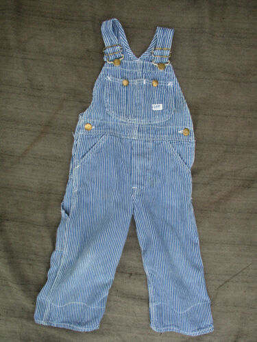 VINTAGE LEE SANFORIZED UNION MADE IN USA BUTTON FLY STRIPED BIB OVERALLS KIDS