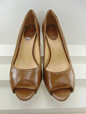 Cole Haan Brown Patent Leather Lizard Print Peep Toe High Heel Pump 8 B $198.00! Brown Peep Toe Pump