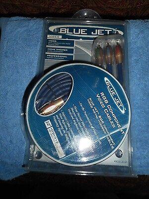Vanco Blue Jet 12' RGB Component Video Cables HTDV312 24K GOLD TIP RCA Connect