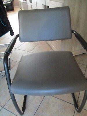 6 Chaise  moderne de cuisine ou de salle à manger en simili cuir gris taupe