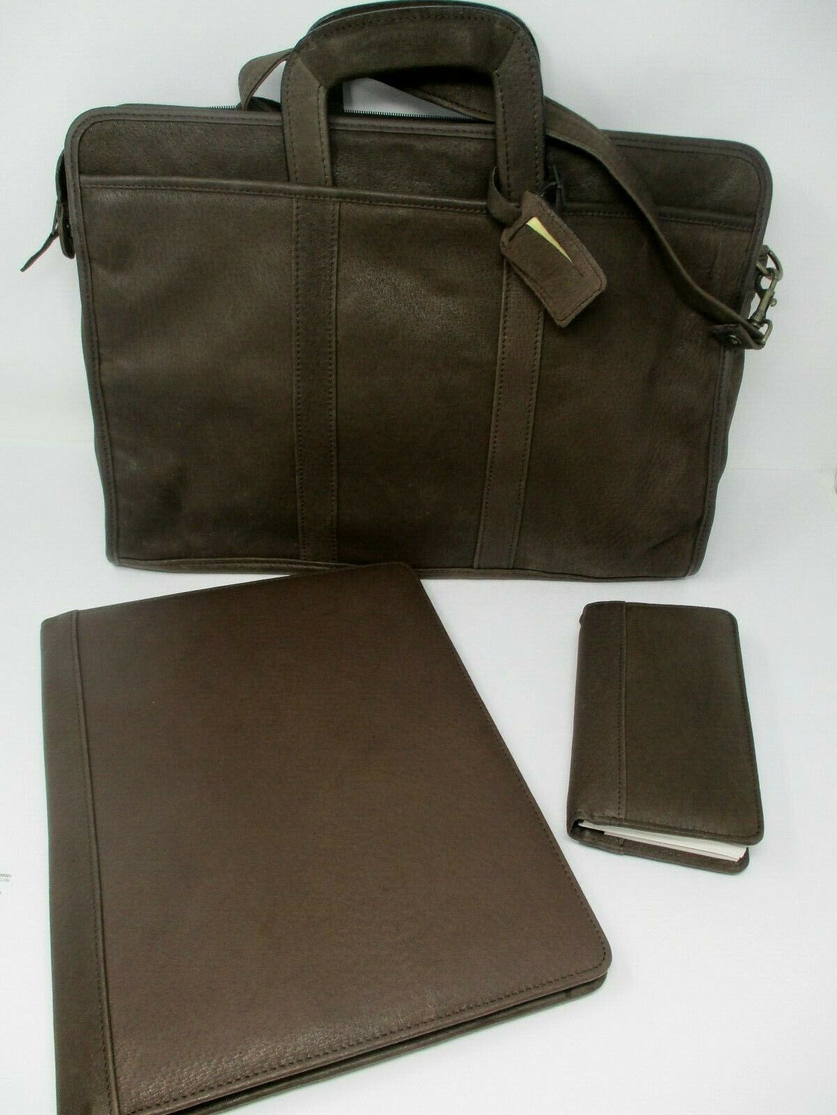 JC Penney Brown Leather Satchel Laptop Briefcase Messenger Bag New