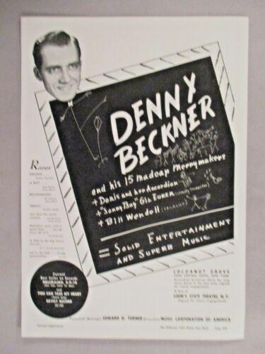 Denny Beckner PRINT AD - 1944