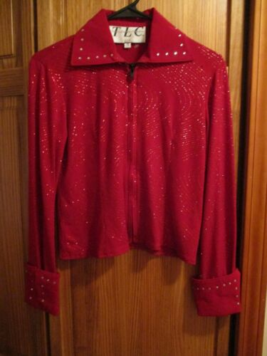 TLC  TWINS LEATHER COLLECTION Red western  show shirt GIRLS 12 WITH CRYSTALS
