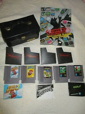 Vtg. Nintendo Lot 5 Games TMNT Super Mario 2,3 Storage Box Poster, Instructions - Poster Storage Box