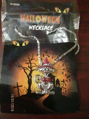 Halloween Costume Dress up Fancy Dress Necklace - Witches Cat (NEW)