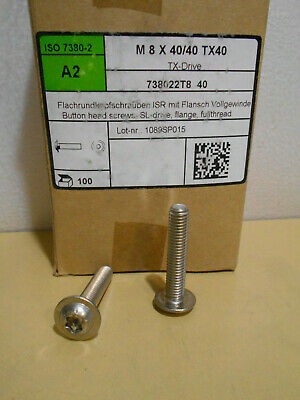 Lot Of 100 Torx Screws Machine Stainless Steel M8 X 40mm