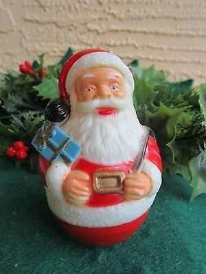 VINTAGE PLASTIC SANTA CLAUS SACK&GIFTS ROLLIE POLY TOY CHRISTMAS DECOR/ORNAMENT