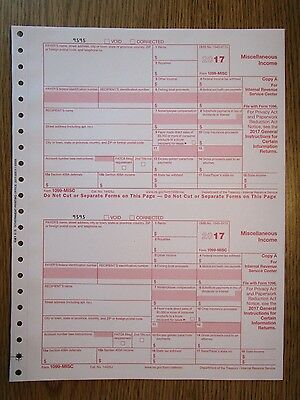 2017 Irs Tax Form 1099 Misc Single Sheet Set For 2 Recipients  Carbonless 5 Part