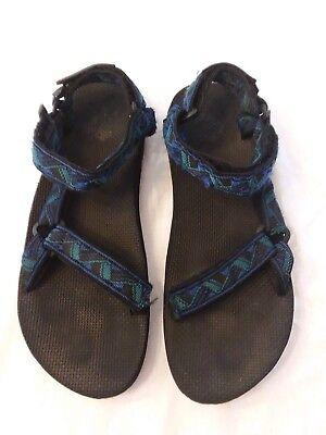 Teva Mens Size 13 Blue Green Black Velcro Closure Active Sport Sandals