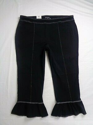 INC International Concepts Womens Ruffle Hem Pants Plus Size 20W 24W Black Capri