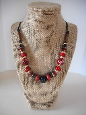 - #111 Red Lampworks Glass & Wood Bead Double Strand Black Cord Necklace