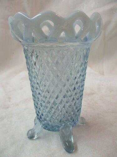 Vintage Imperial glass Katy blue Opalescent Nase Lace edge Rim