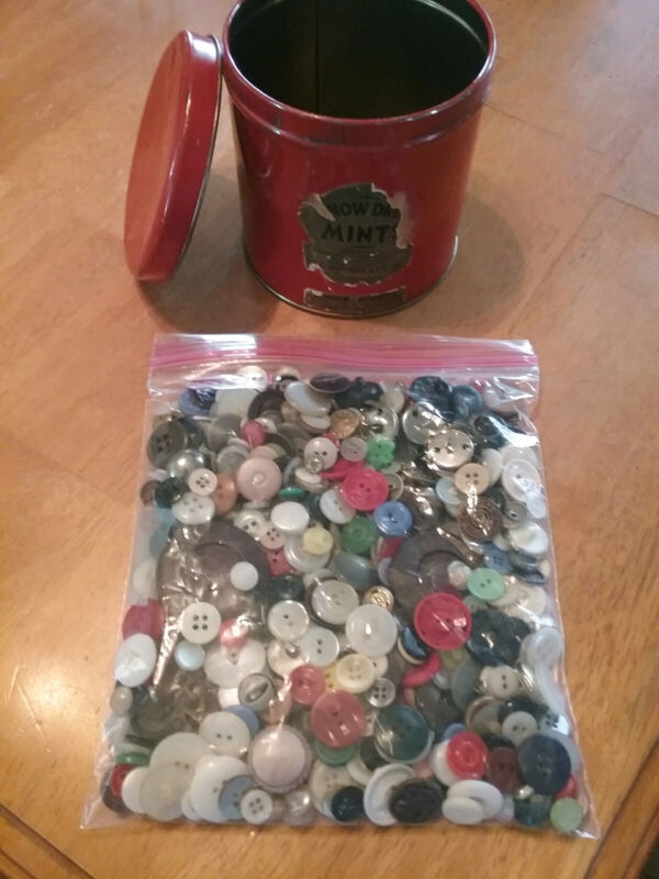 Vintage Antique Rare Red Snow Drop Mint Tin with Lid Filled with Vintage Buttons