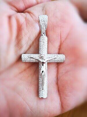 14k Gold Religious Jewelry - 1.50Ct Diamond Cross Pendant Religious Jewelry Jesus Pendant 14K White Gold
