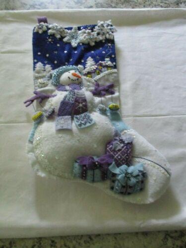 "Finished/Completed Bucilla 18"" Felt Christmas Stocking - ""FROSTY NIGHT"""