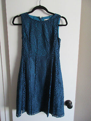 Ny Co Eva Mendes Maria Teal Lace Dress Size 0 Small Blue Fit Flare Spring Easter
