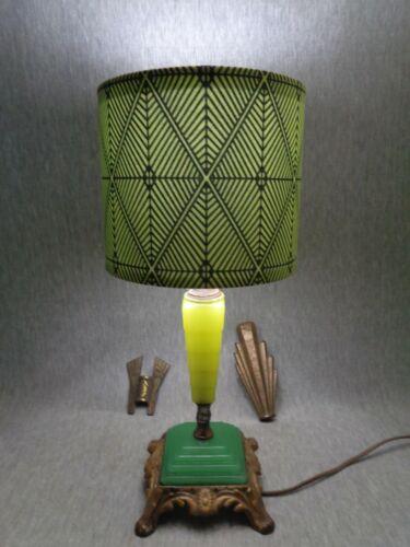 """Ramses the Great"" 1925 Egyptian Revivalist Art Deco Lamp - Jadeite ""Art Glass"""