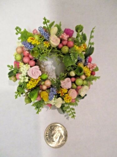 "Miniature Doll/dollhouse 1 3/4"" wreath/assorted floral design #10"