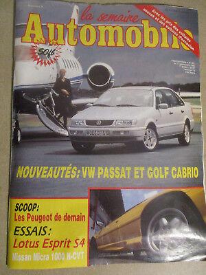 LA SEMAINE AUTOMOBILE: n°361: 11/09/1993: VW PASSAT ET GOLF CABRIO -LOTUS ESPRIT