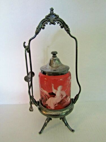 Mary Gregory Cranberry Pickle Caster