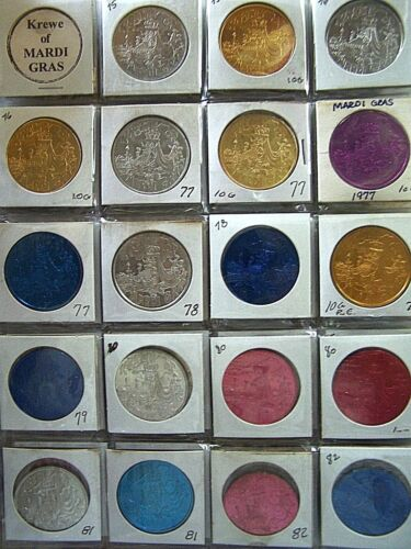 Collection of 81 Krewe of Mardi Gras Aluminum Doubloons--1975 - 1994