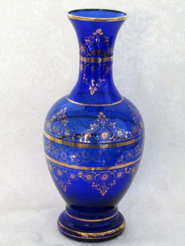 "Cobalt Blue Vecchia Murano Signed & Labeled Blown Glass 12"" Vintage Vase"