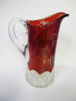 """EAPG RUBY STAINED SOUVENIR 9"""" PITCHER GOTHIC ARCHES ATLANTIC CITY 1902"""