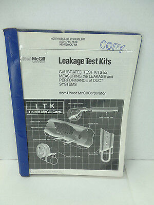 United Mcgill Leakage Test Kits Ltk For Duct Systems Book Booklet Air Leaks L