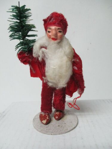 Vintage Germany Unusual Father Christmas Figure Holding Tree