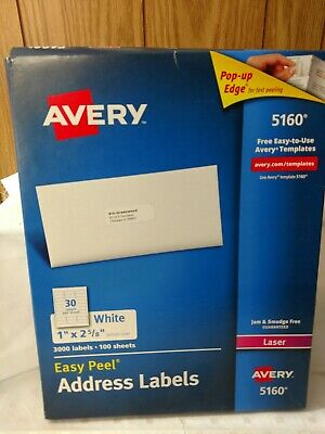 Avery 5160 Laser Address Labels 3000 Labels New Without Tag