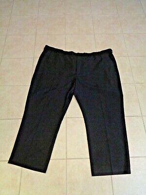 MEN'S VAN HEUSEN BLACK DRESS PANTS EXTENDER WAIST FLAT FRONT 54 X 32 EUC