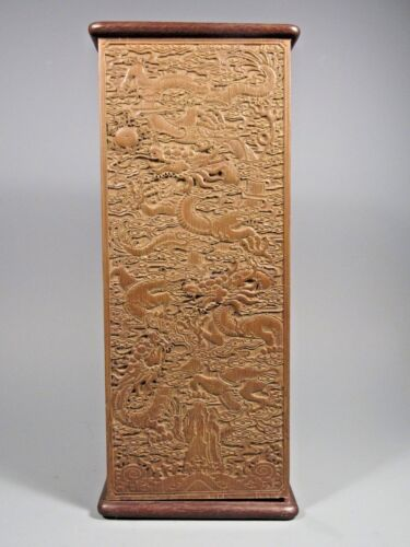 Fine RARE China Chinese Carved Wood Brush Pot w/ Dragon Decor ca. 19th century