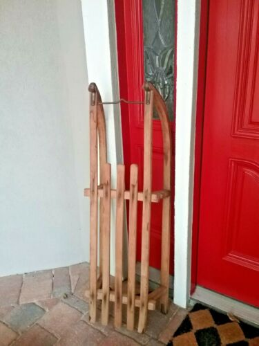 Antique wood and iron 100+ year old Davos Swiss sled