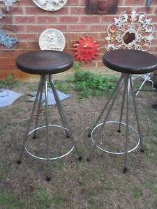 2 Chrome Base Bar Stools with Thick Timber Seat