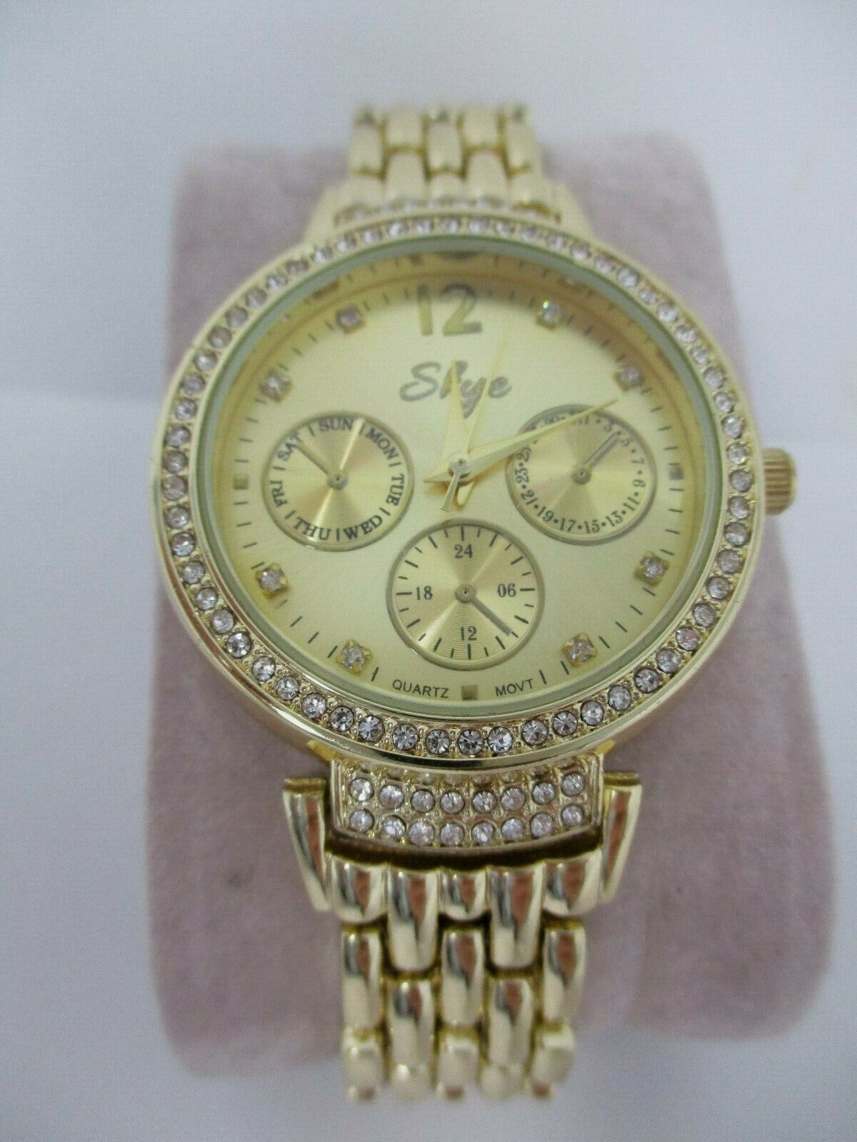 Skye Womens Gold Watch With Crystal Accents