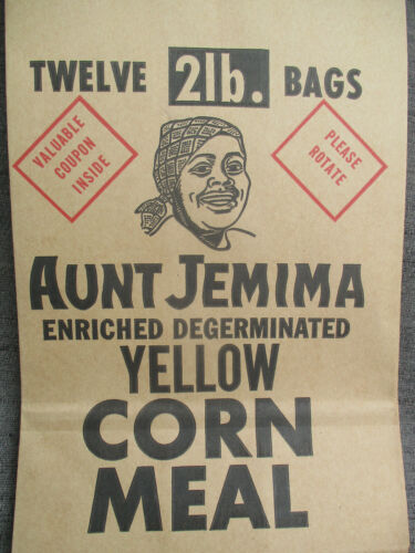 VINTAGE MAMMY CORN MEAL WHOLESALE SHIPPING SACK BROWN PAPER BAG