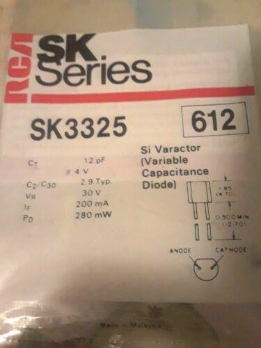 RCA SK3325 VARACTOR DIODE 12pf at 4V REPL ECG612, NTE612