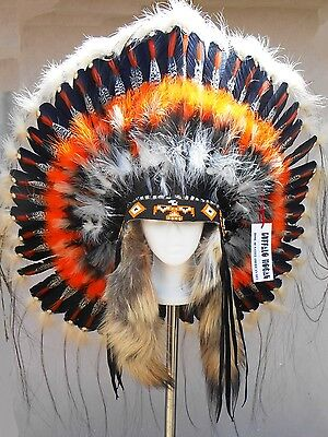 "Native American Navajo War Bonnet Headdress 36"" THUNDERBIRD orange yellow black"