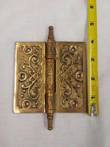 Antique Door Hinge ~ Brass Ornate