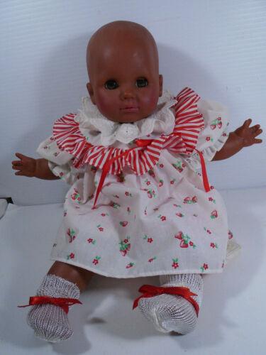 "Zapf African American Baby Doll Original Dress 16"" Sleep Eyes Cloth Body & Vinyl"