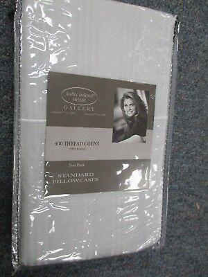 Kathy Ireland 400 Thread Count 100% Cotton Stripe PILLOW CASES PEARL GRAY