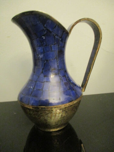 Mid Century Modern Hand Hammered Inlaid Lapiz Stone Mexico Silver Plate Pitcher