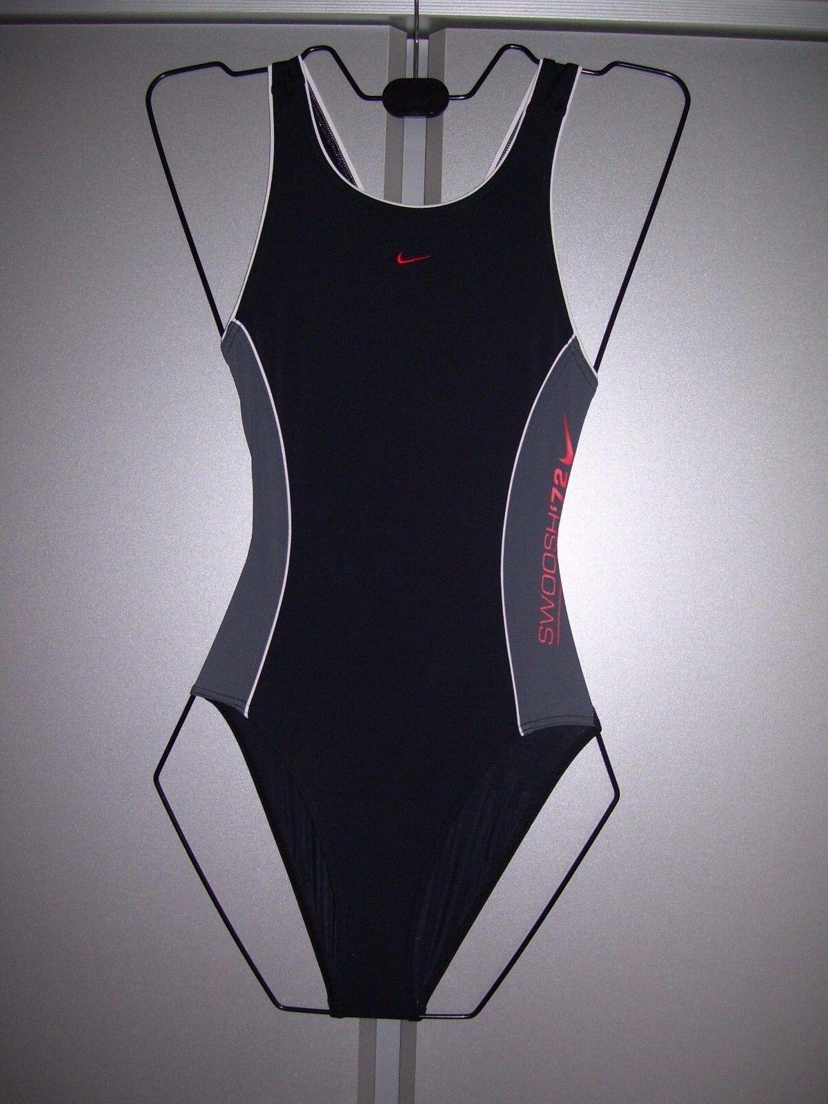Nike Mädchen Badeanzug Kinder Schwimmanzug schwarz grau 116 oder 128 neu