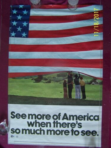 Vintage, SEE MORE OF AMERICA!  orig. 1976 D.ofC. USA BiCentennial travel poster