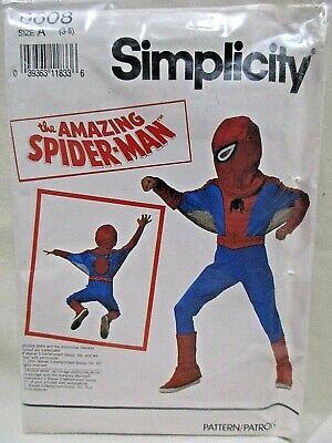 Spiderman Halloween Costume Pattern (Simplicity Pattern 0608 Sizes 3-8 Childs Spiderman Costume Uncut)