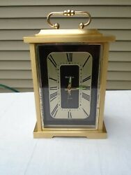 BULOVA Quartz DESK Mantle Clock B7270 Japan 4 RE604 Works