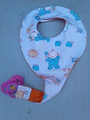 Binky Bib (Binky Bib Pacifier Holder - BINKY INCLUDED! Lavender Babies)