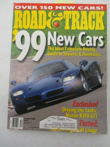 ROAD & TRACK MAGAZINE OCTOBER 1998 NISSAN R390 GT1 BMW M COUPE FERRARI DINO 206G